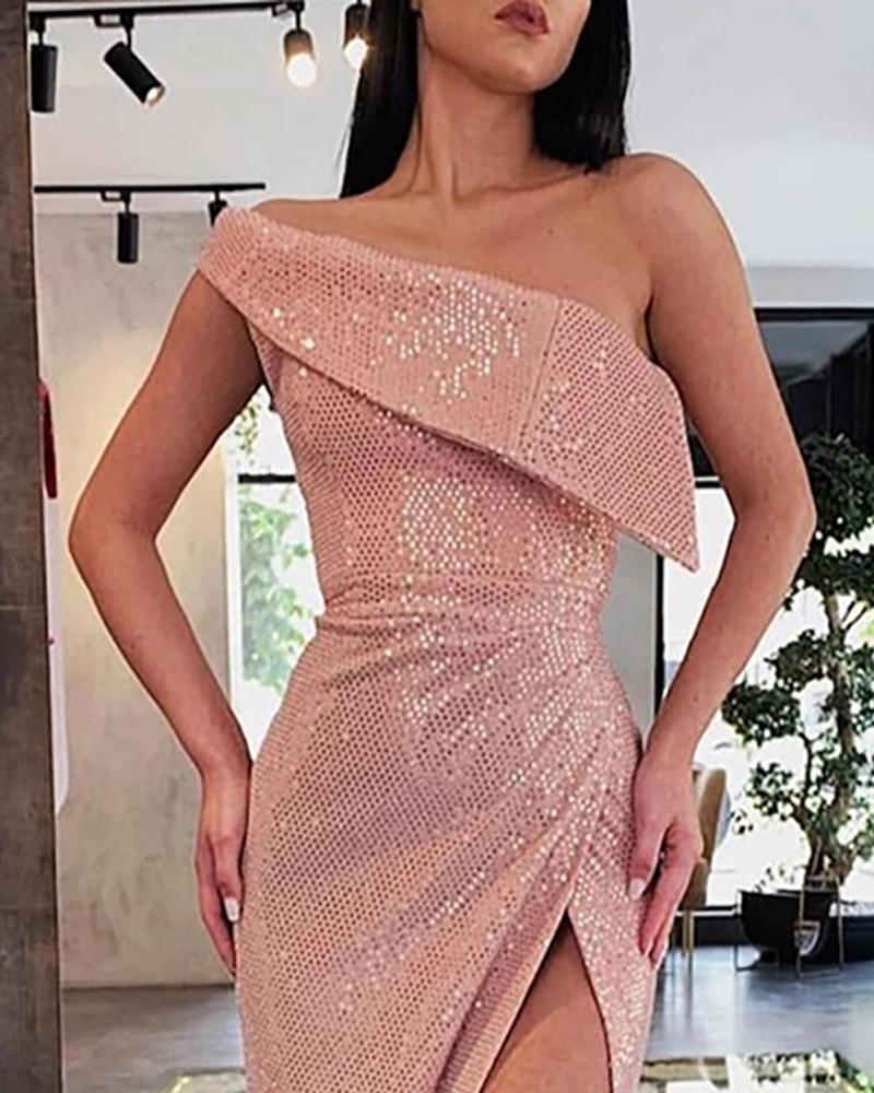 Foldover High Slit Sequin Evening Dress