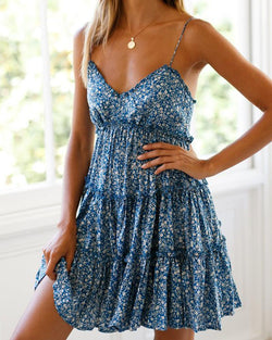 Floral V Neck Cami Smock Dress