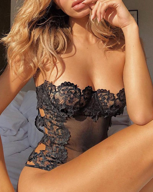 Sheer Mesh Lace Trim Insert Bodysuit