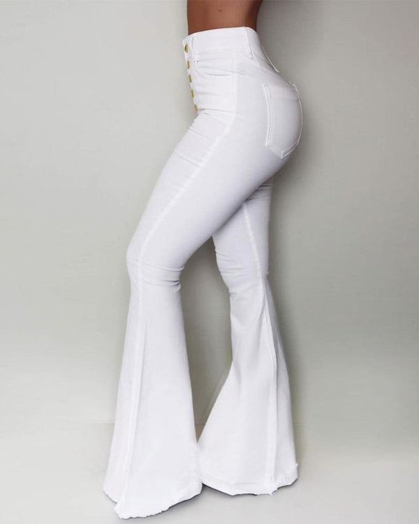 Solid High Waist Slinky Bell-bottomed Pants