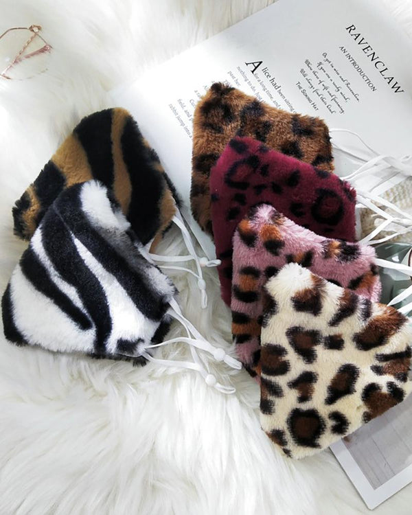 5PCS/Set Cheetah / Tiger / Zebra Stripe Print Fluffy Breathable Face Mask