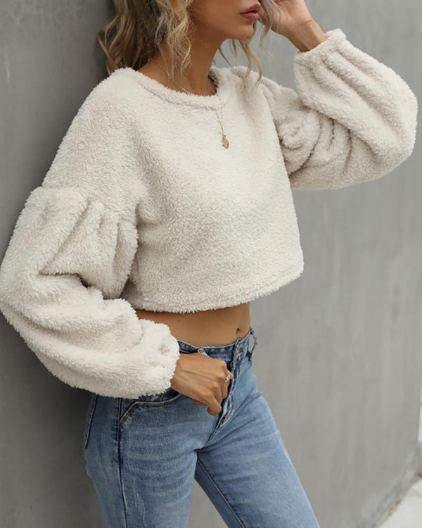 Round Neck Long Sleeve Teddy Top