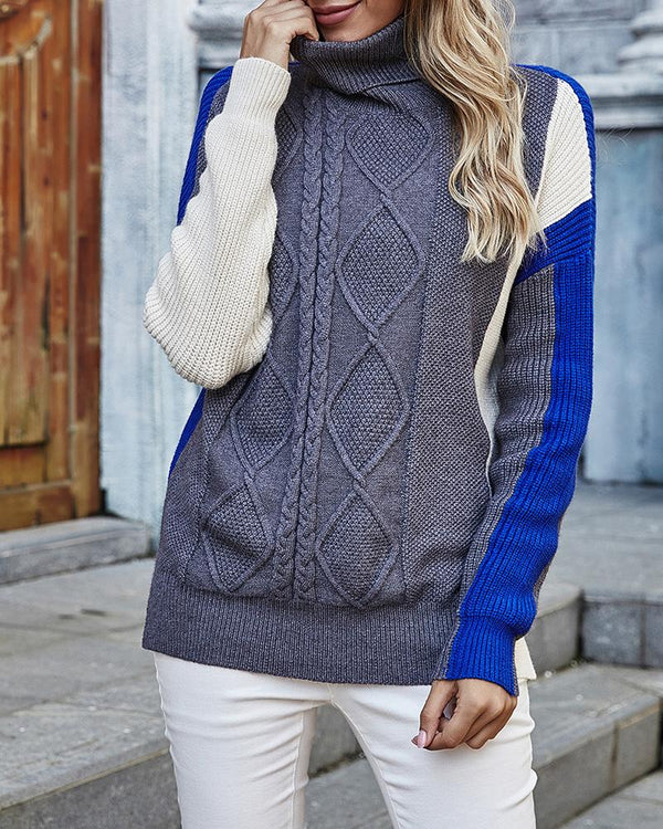 Colorblock Long Sleeve Side Slit Cable Knit Sweater