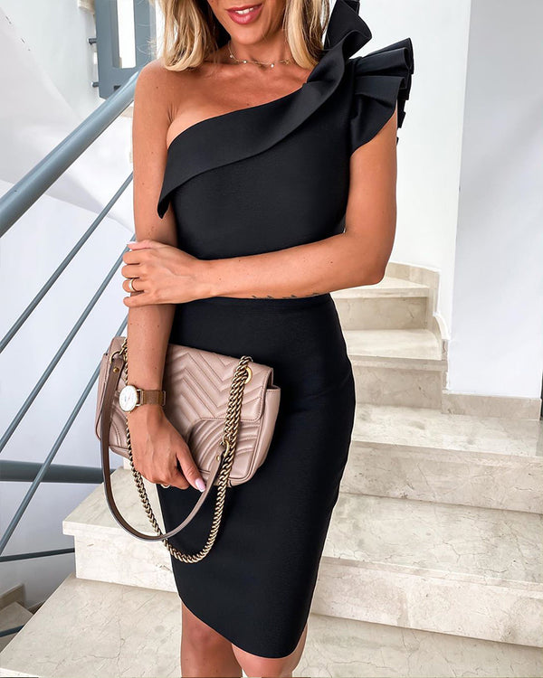 Solid One Shoulder Ruffled Bodycon Dress
