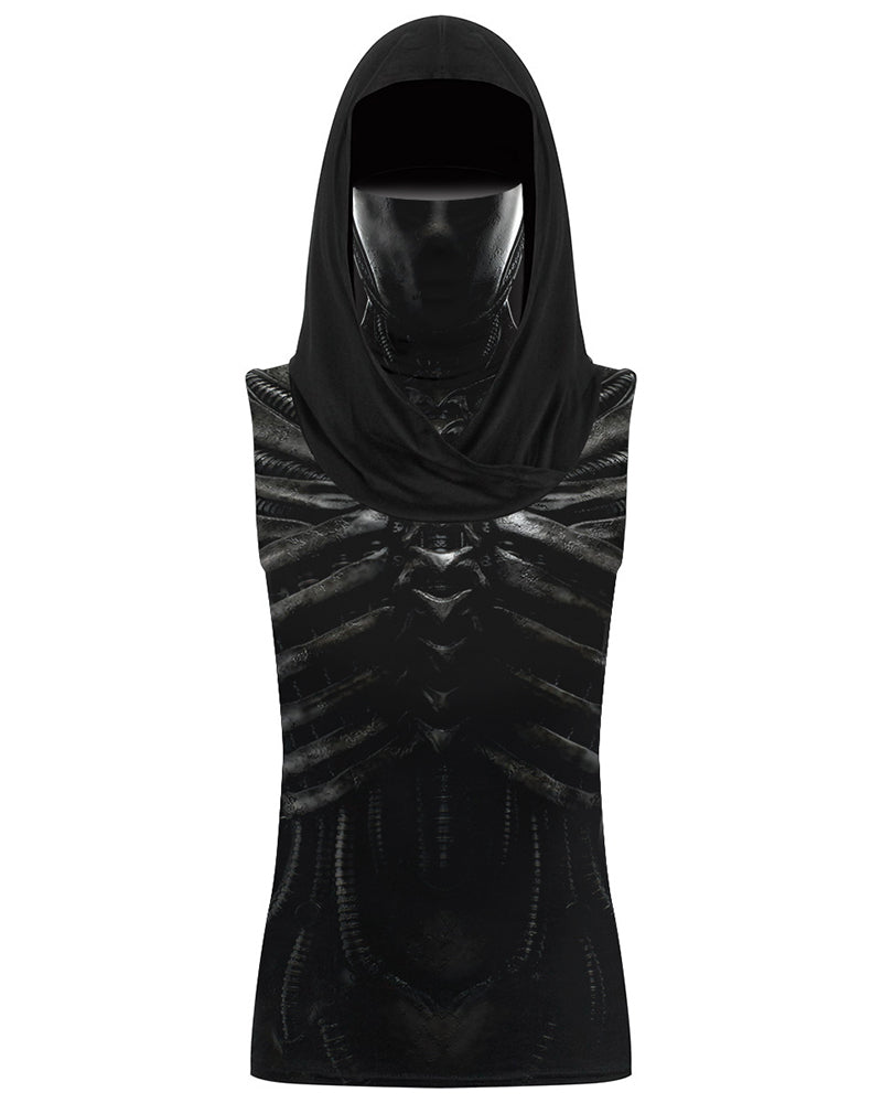 Skeleton Print Hooded Tank Top With Ear Loop Face Bandana