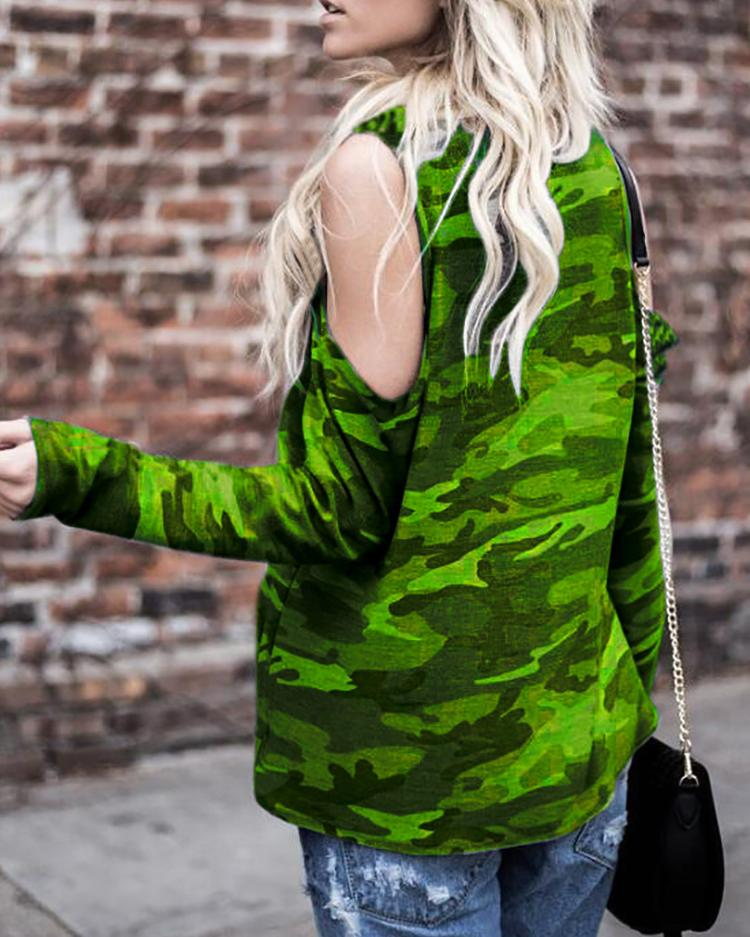 Camouflage Print Cold Shoulder T-shirt