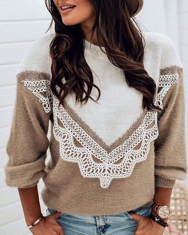 Patchwork Lace Colorblock Casual Sweater