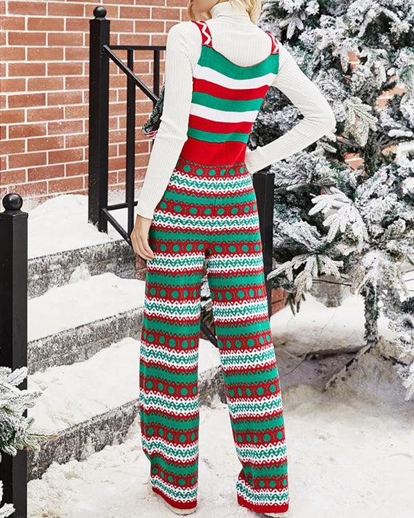 Christmas Pocket Design Knit Suspender Pants