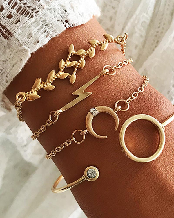 4PCS Moon Decor Studded Bracelet Set