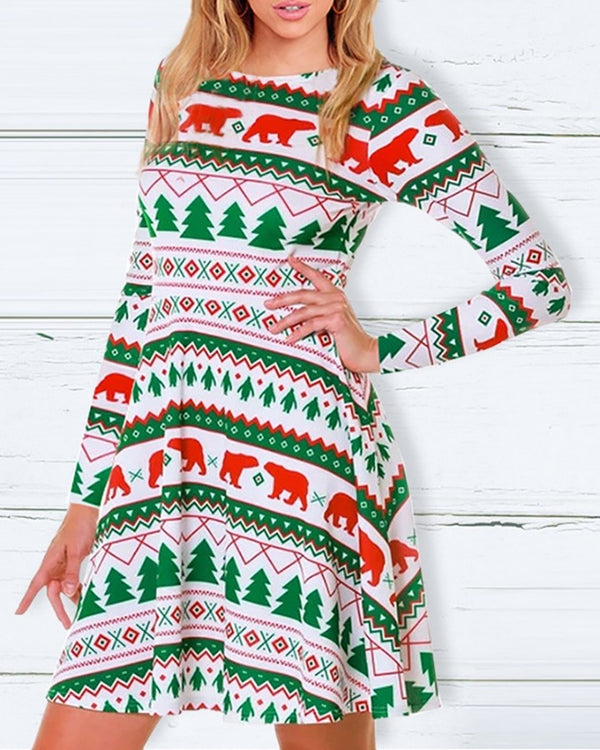 Christmas Mixed Print Long Sleeve Dress