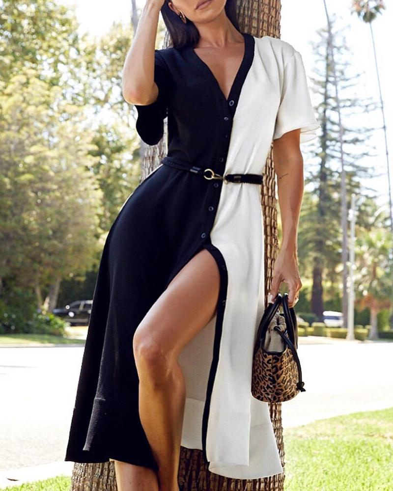 Colorblock Short Sleeve Slit Casual Dress