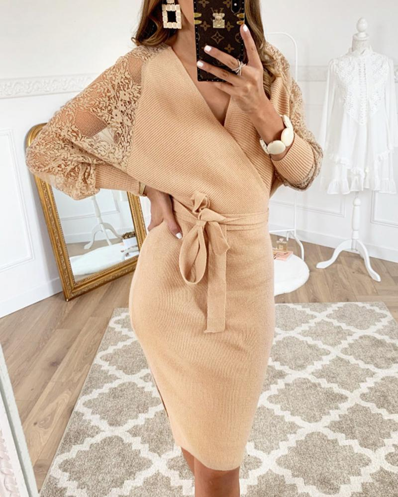 Lace Insert Batwing Sleeve Surplice Wrap Dress