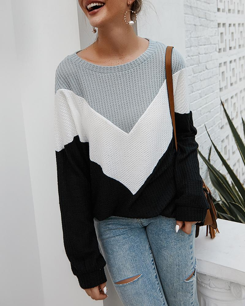 Colorblock Long Sleeve Casual Sweater