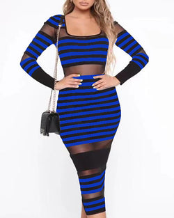Striped Colorblock Mesh See Through Dress