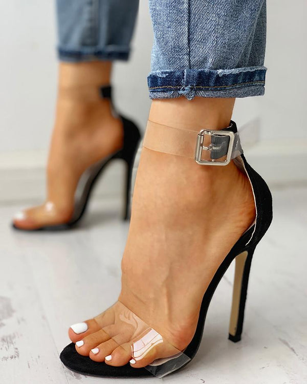 Transparent Strap Patchwork Sandals