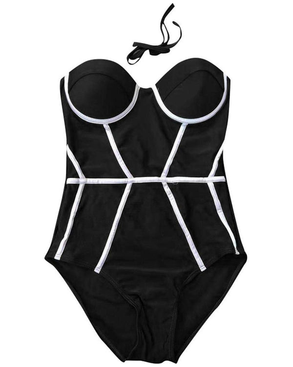 Contrast Piping One Piece Swimwear