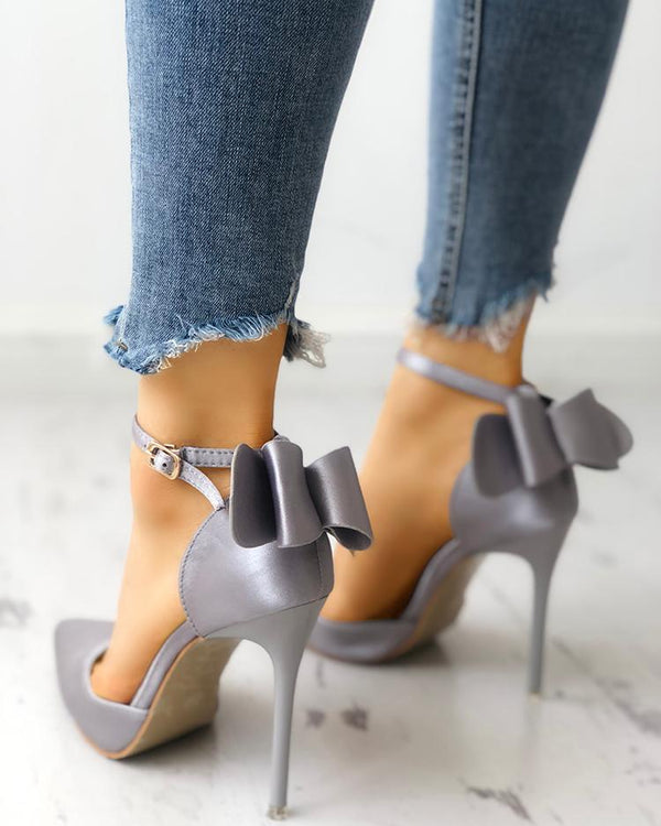 Satin Bowknot Ankle Strap Peep Toe Heels
