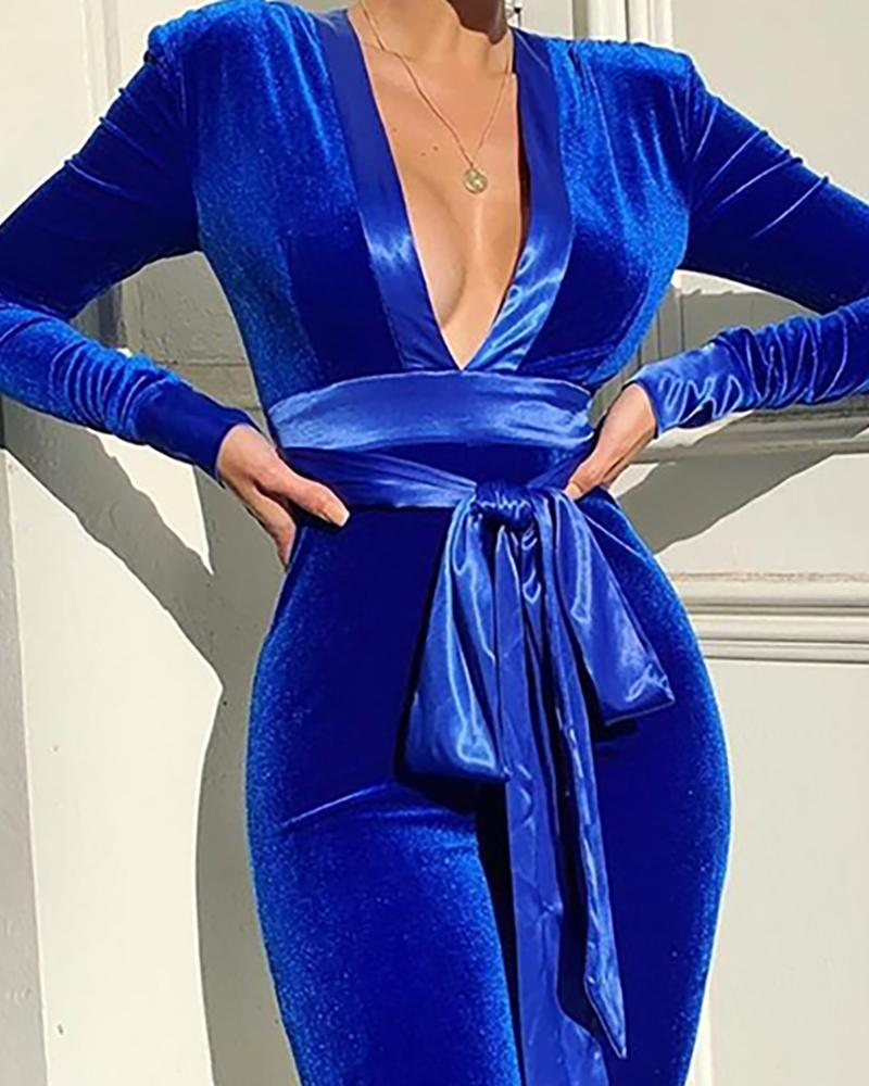 Solid Tied Waist Long Sleeve Jumpsuit
