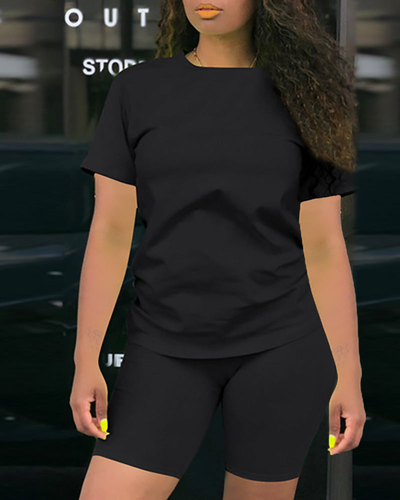 Solid Short Sleeve Sporty Top & Short Set