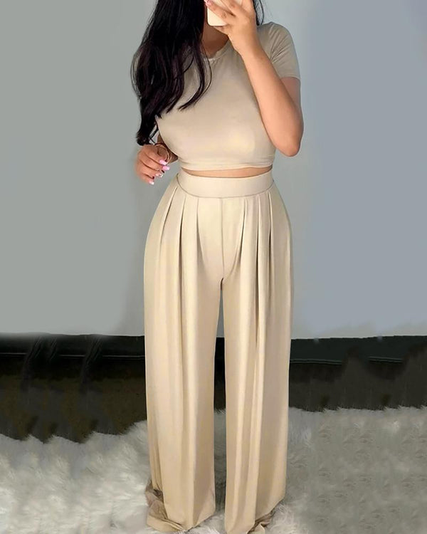 Short Sleeve Casual Top & Ruched Palazzo Pants Set