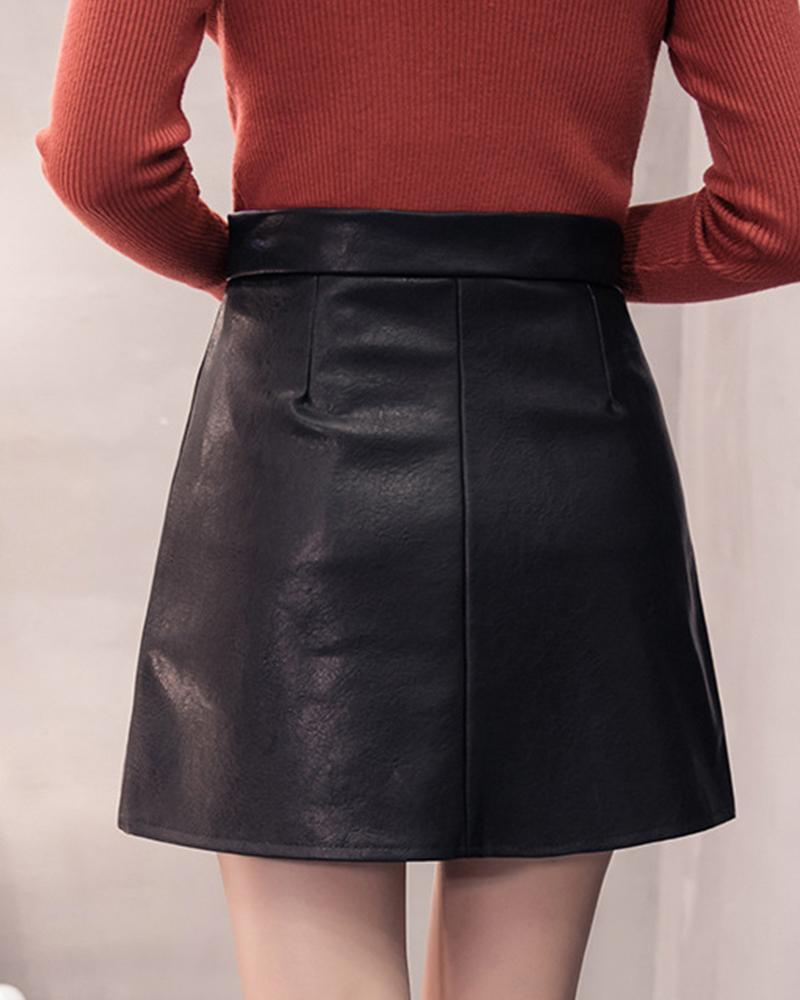 PU Zip Front Mini Skirt