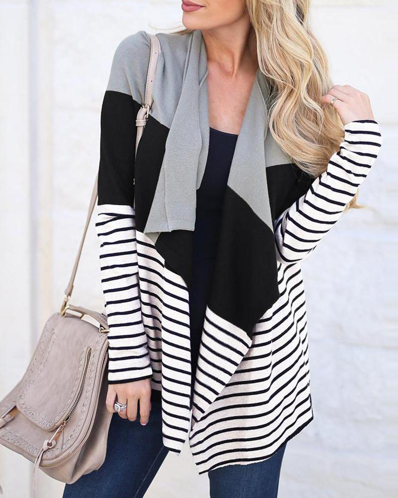 Colorblock Insert Striped Open Front Cardigan