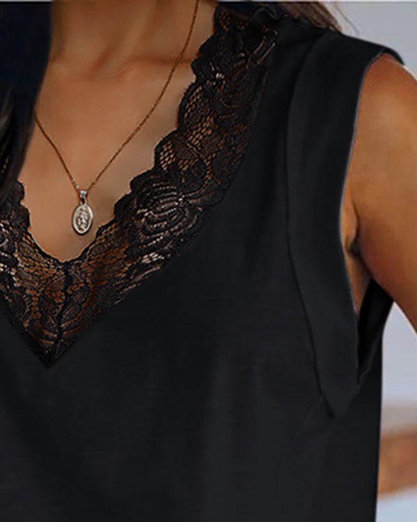 Lace Trim V-neck Casual Tank Top