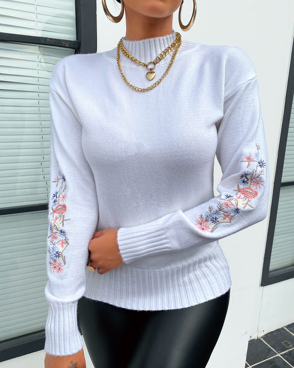 Floral Embroidery Long Sleeve Sweater