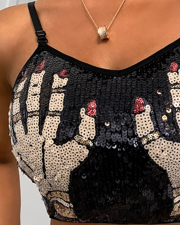 Spaghetti Strap Hands Pattern Sequins Crop Top