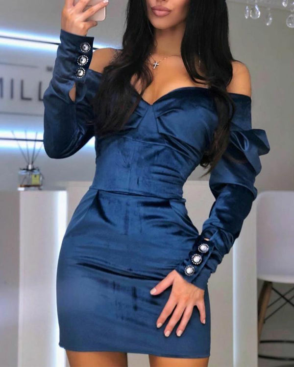 Solid Bubble Sleeve Off Shoulder Skinny Mini Dress
