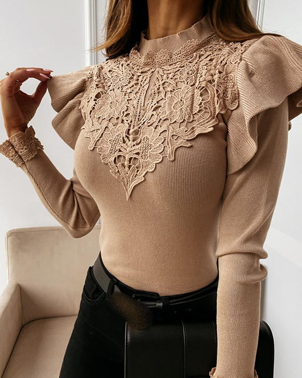 Crochet Lace Ruffles Trim Long Sleeve Sweater