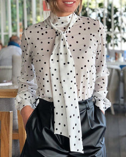 Dot Long Sleeve Blouse & Silk Scarves Sets