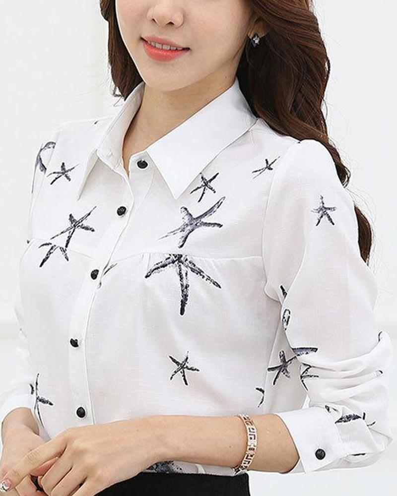 Chiffon Button-Down Blouse