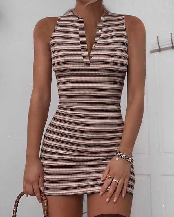 Bottoned Striped Sleeveless Mini Dress