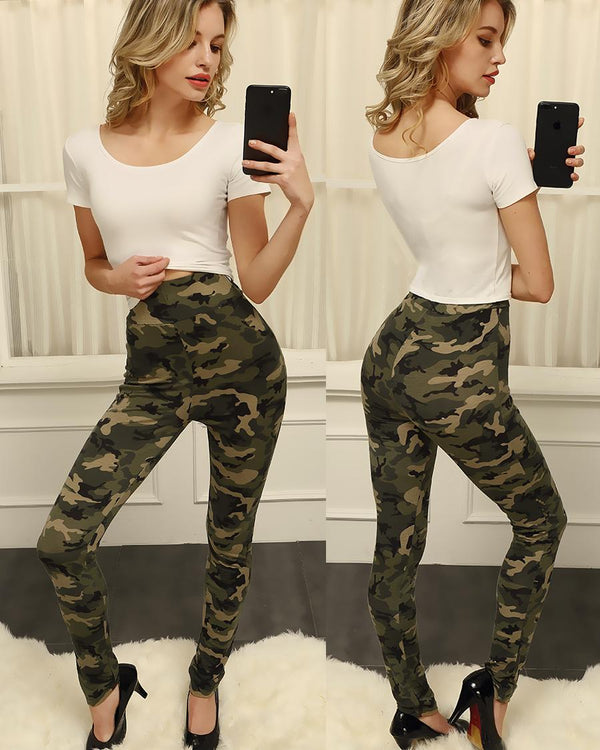 Fashion Women High Waist Camouflage Leggings
