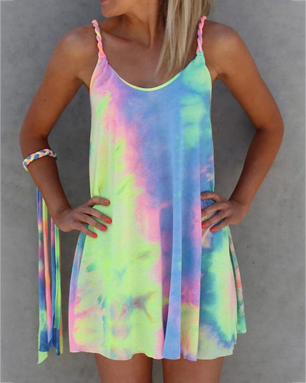 Spaghetti Strap Tie Dye Print Dress