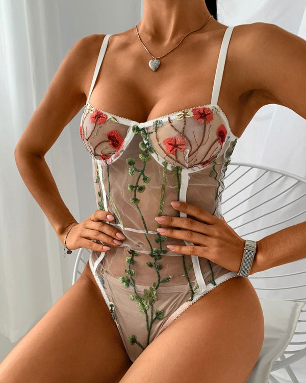 Sheer Mesh Floral Embroidery Bodysuit