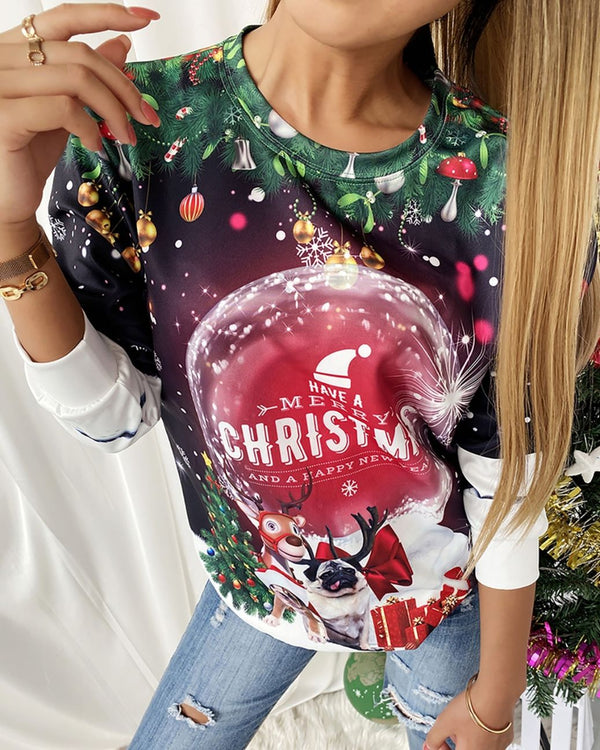 Christmas Graphic Print Long Sleeve Sweatshirt/ Unisex Ugly Christmas Crewneck Sweatshirt
