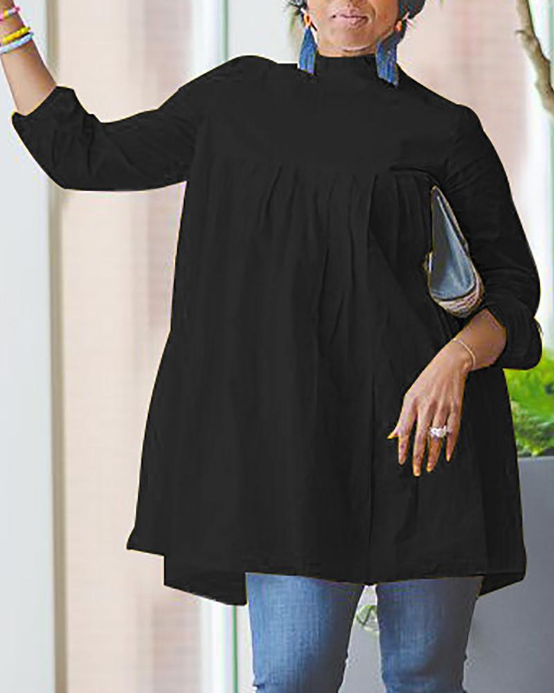 Solid Mock Neck Ruched Loose Blouse