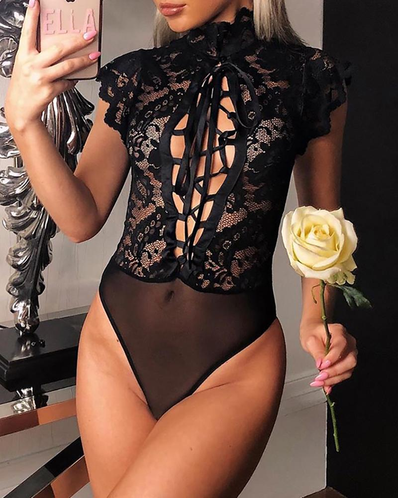 Lace Embroidery Lace-Up Hollow Out Bodysuit