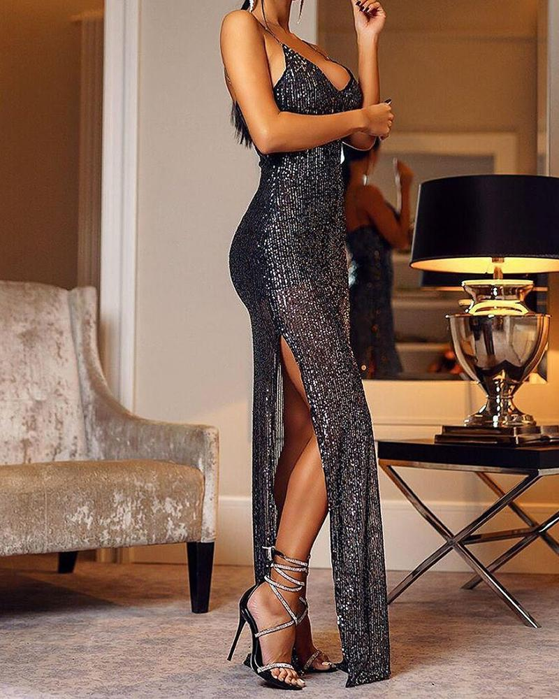 Plunge Sequined Slit Maxi Dress