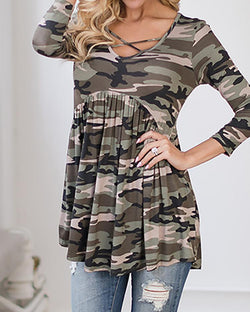 Trendy Crisscross Camouflage Print Pleated Blouse