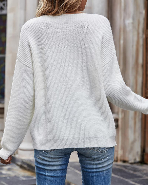 Heart Pattern Long Sleeve Casual Knit Sweater
