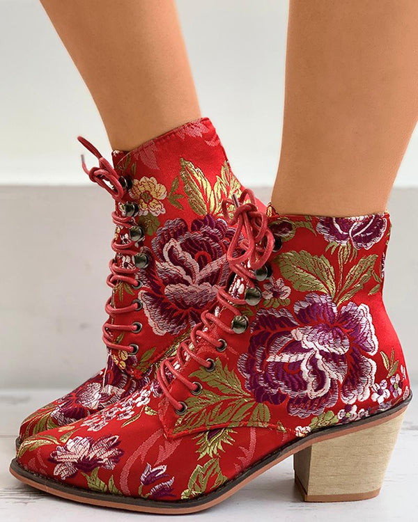 Floral Embroidery Lace-up Chunky Boots