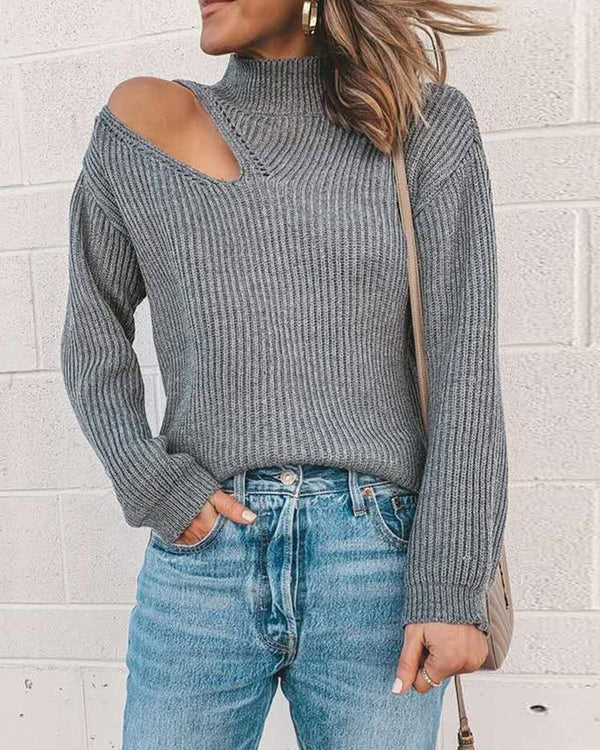 Solid Color Cut Out Long Sleeve Knitted Sweaters