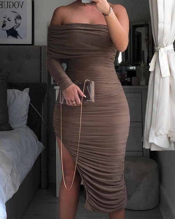 Solid Ruched Bodycon Asymmetric Dress