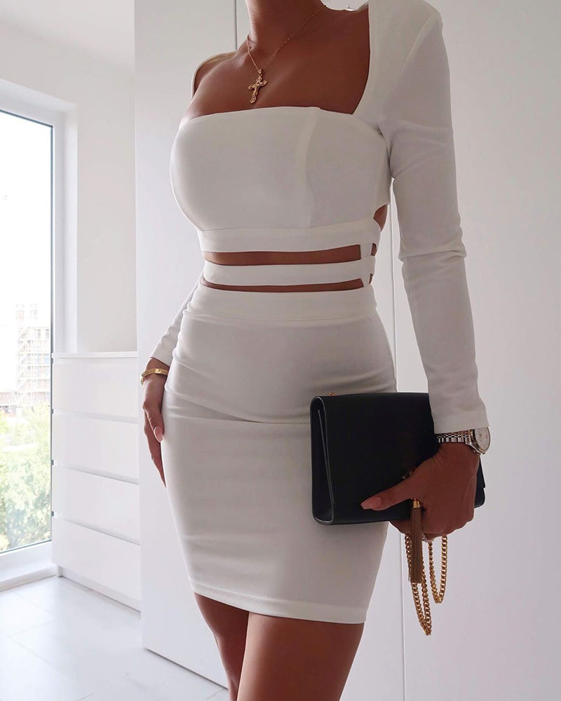 Solid Square Neck Cut Out Waist Bodycon Dress
