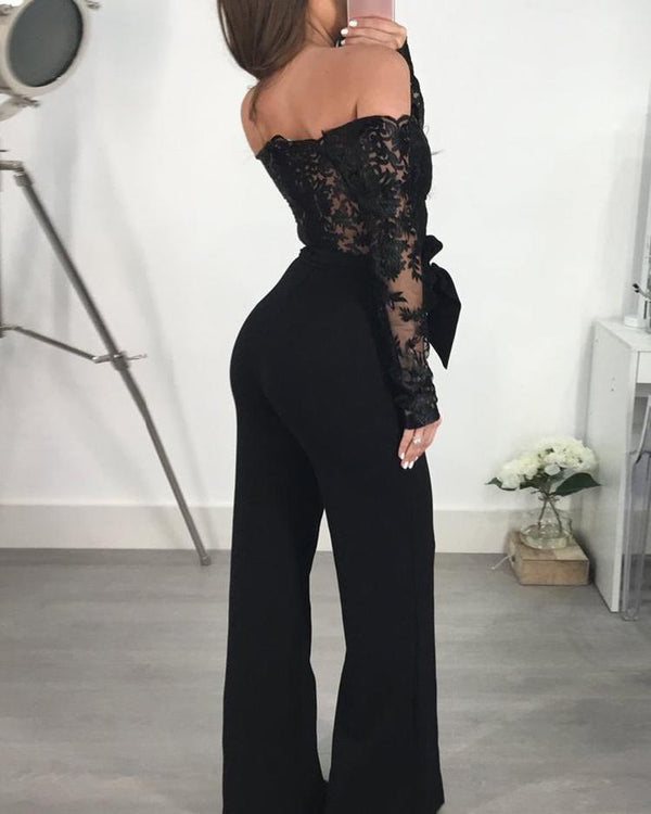 Off Shoulder Guipure Lace Bodice Jumpsuit