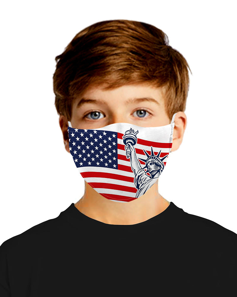 Flag Print Mouth Mask Breathable Washable And Reusable With Replaceable Filter