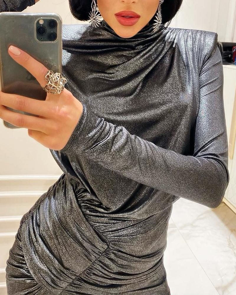 Metallic Ruched Bodycon Dress